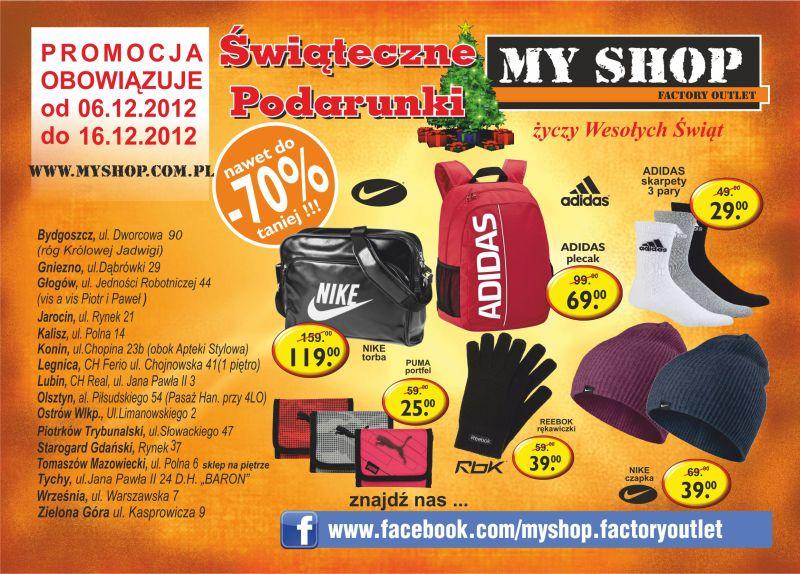 myshop sklep wyprzedazowy towarow markowych gazetka promocyjna 2012 12 06 2012 12 16